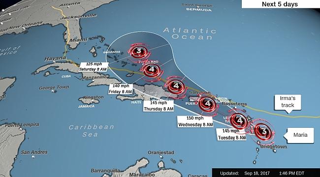 ABD Yine Kasırga Tehditi altında: Maria
