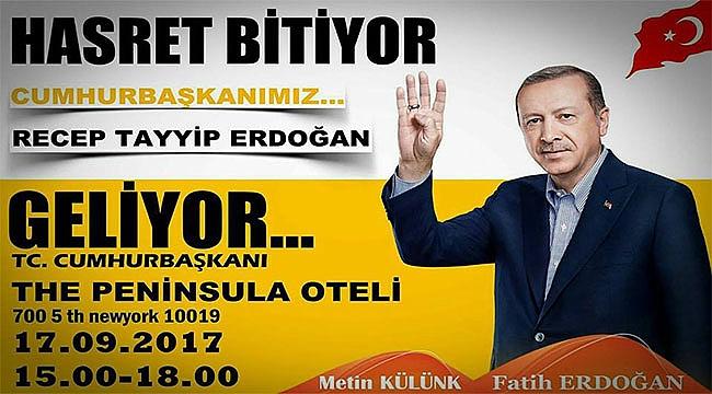Erdoğan'ı New York'ta Türkler Karşılayacak