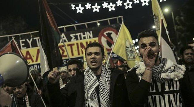 Yunanistan'da ABD'nin Kudüs kararı protesto edildi