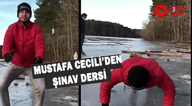 Mustafa Cecili ABD'de buzda Şınav çekti