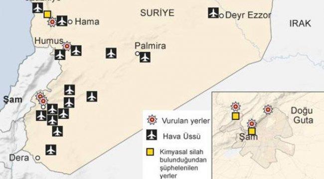 BBC haritayı yayınladı! İşte Suriye'de hedef alınan yerler