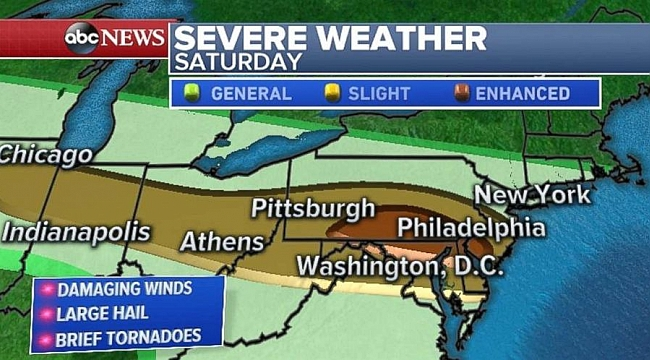 Severe weather stretches from Great Lakes to Northeast on Saturday