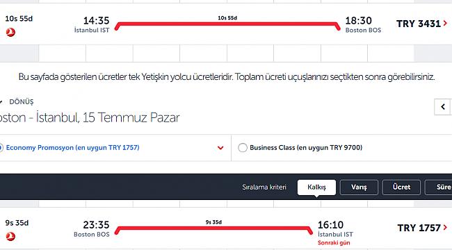 Türkler THY Fiyatlarından Şikayetçi