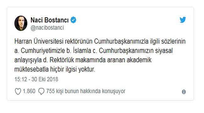 Naci Bostancı'dan O Rektöre Tepki