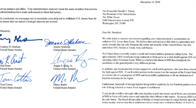 ABD'nin Suriye'den Çekilmesine Senatörler Rahatsız