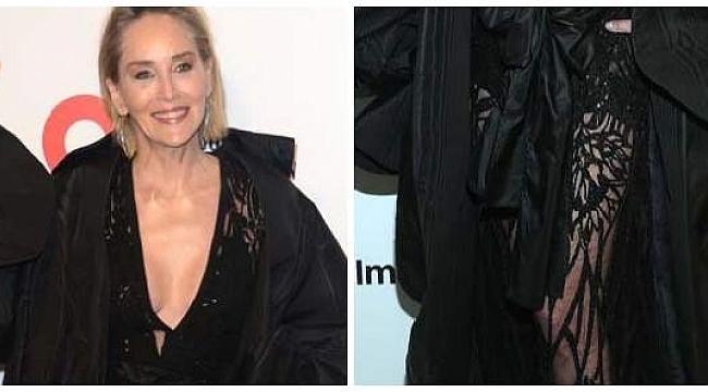 Sharon Stone'ın, göğüs dekolteli transparan elbisesi