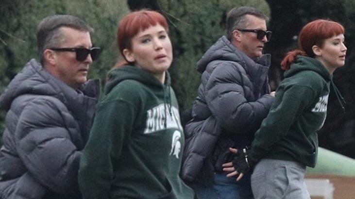 Jennifer Lawrance yeni filmi için kızıl saçlı oldu